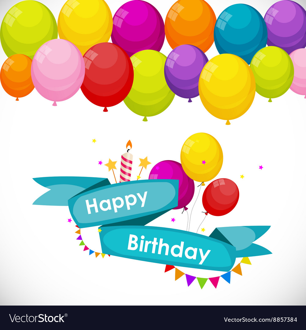 Happy birthday card template with balloons vector image happy birthday card template with balloons vector image pronofoot35fo Image collections