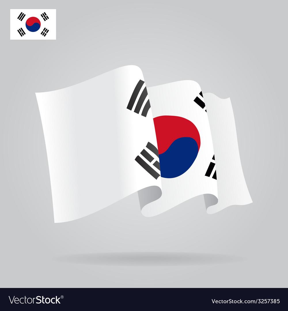 Flat and waving South Korea Flag vector image