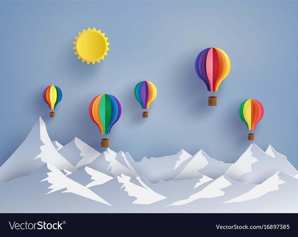 Hot air balloon and mountain vector image