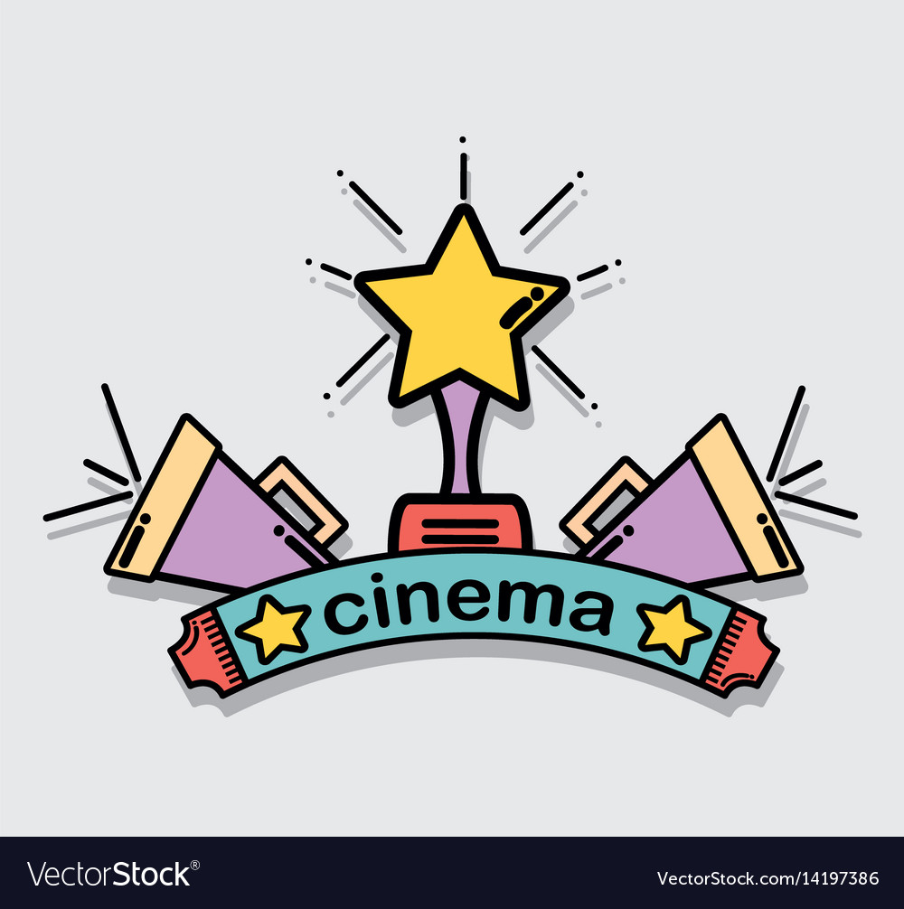 Short film with prize and horn tool vector image