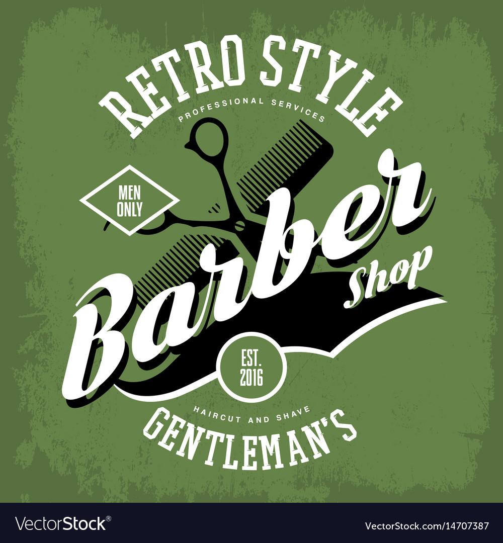 Barber shop or vintage haircut salon sign vector image