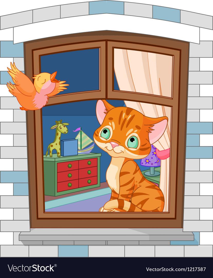 Cute kitten sitting on the window vector image