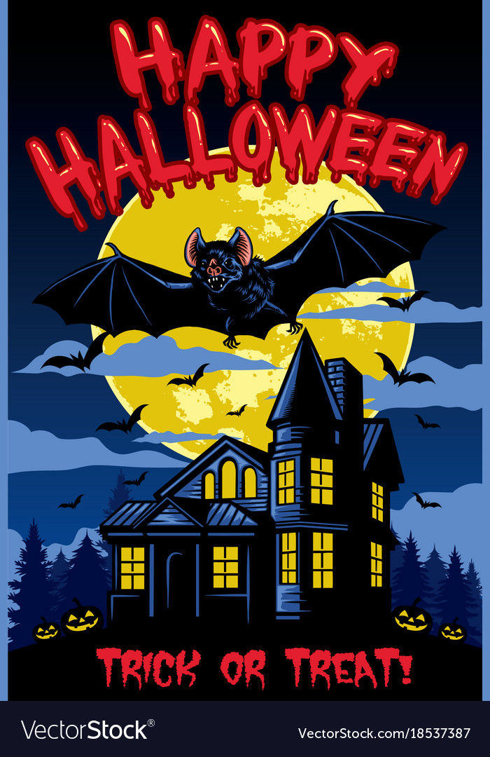 Halloween design with bat and hanted house vector image
