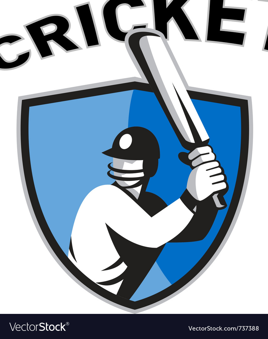 Cricket sports shield vector image