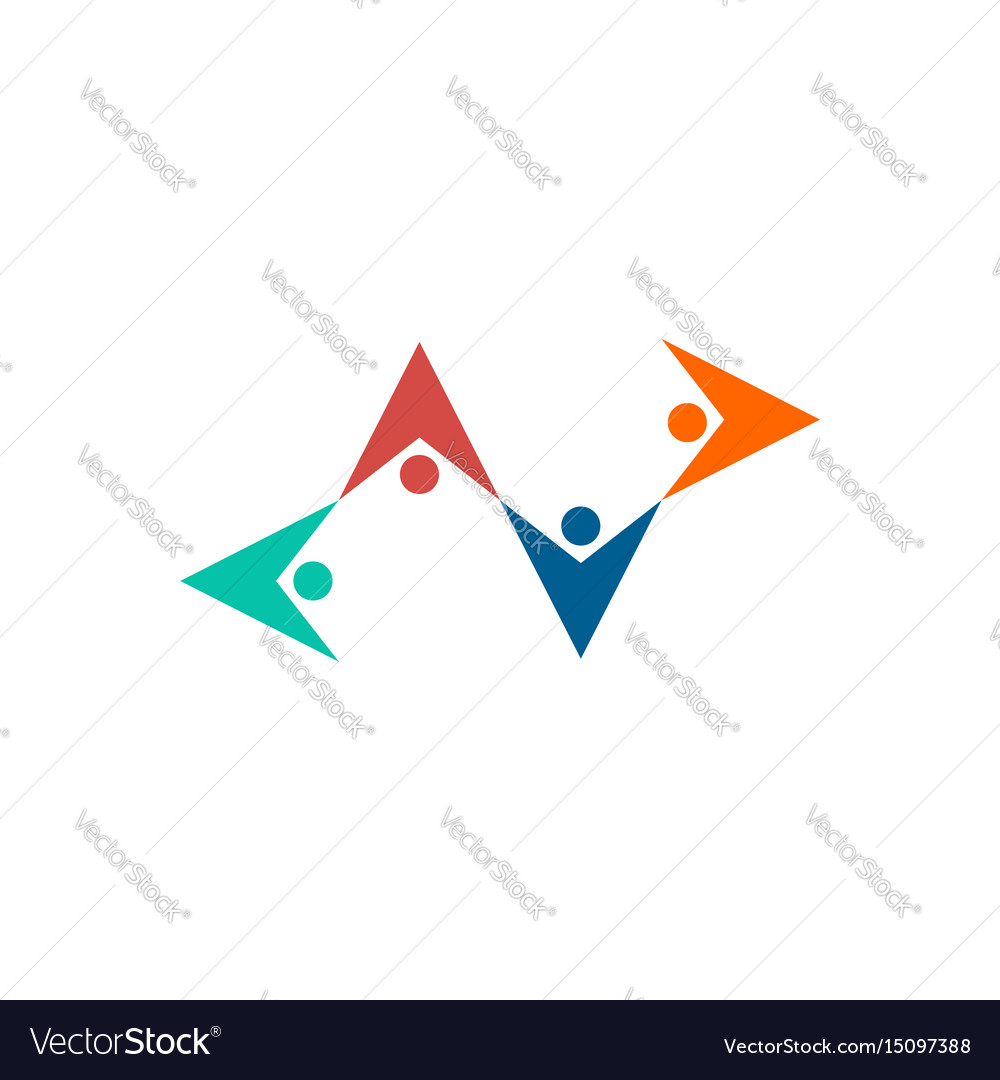 Friendship logo people hold hands emblem mutual vector image