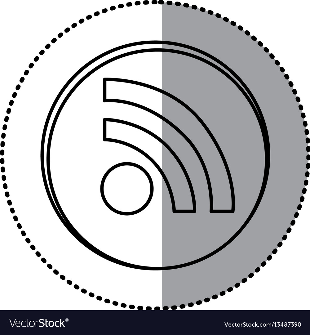 monochrome contour with circle sticker of wifi vector image