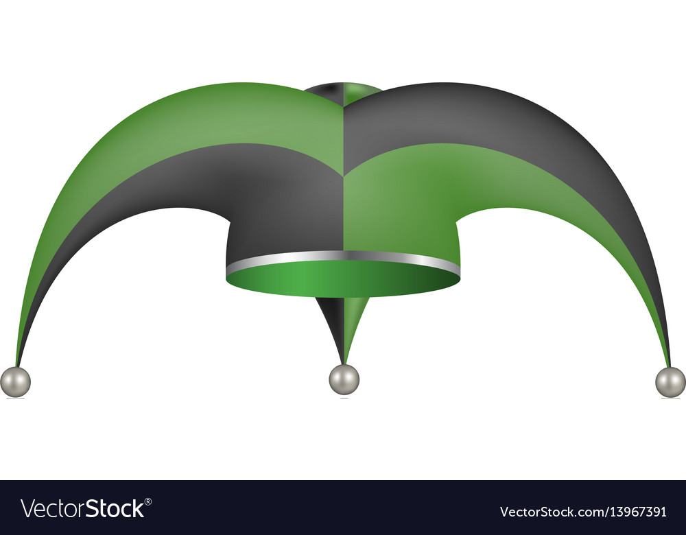 Jester hat in black and green design vector image