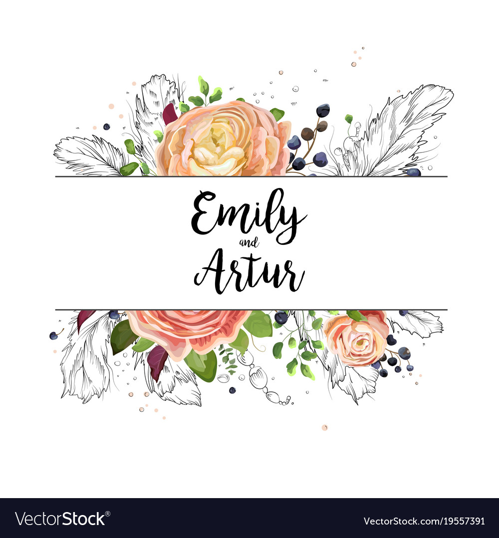 Wedding watercolor floral invitation card design vector image stopboris Image collections