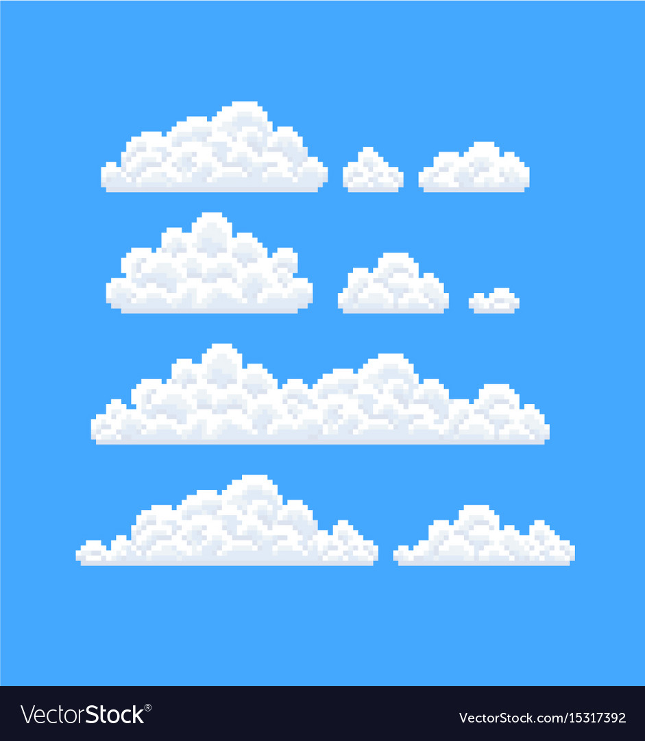 Pixel art clouds Royalty Free Vector Image