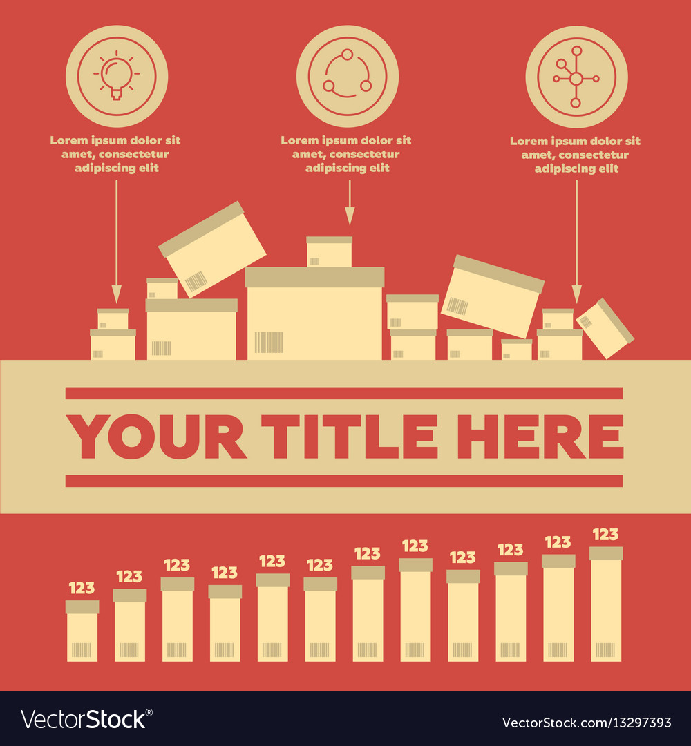 Delivery elements and bar chart vector image