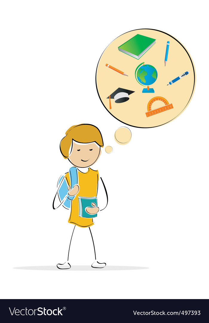 Kids thinking of school vector image