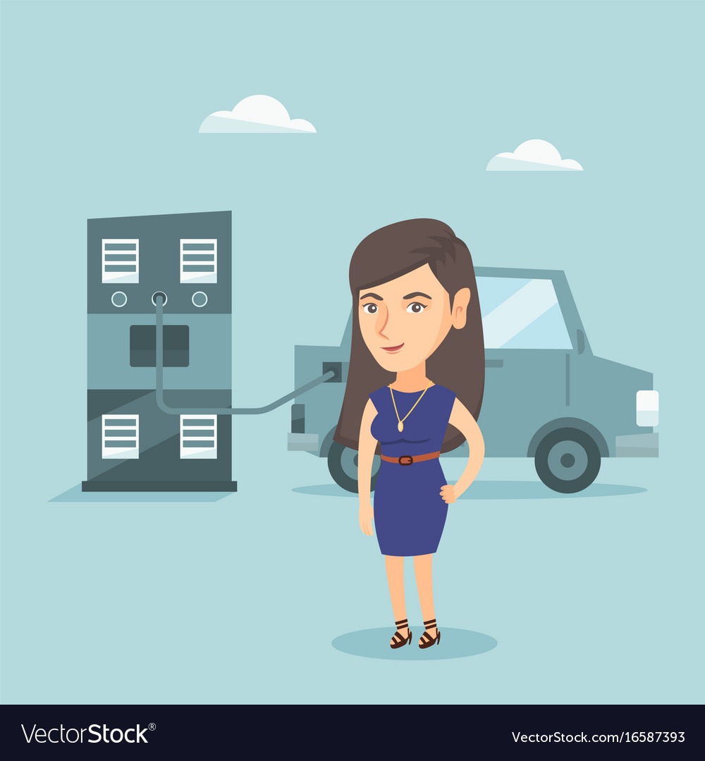 Woman charging electric car at charging station vector image