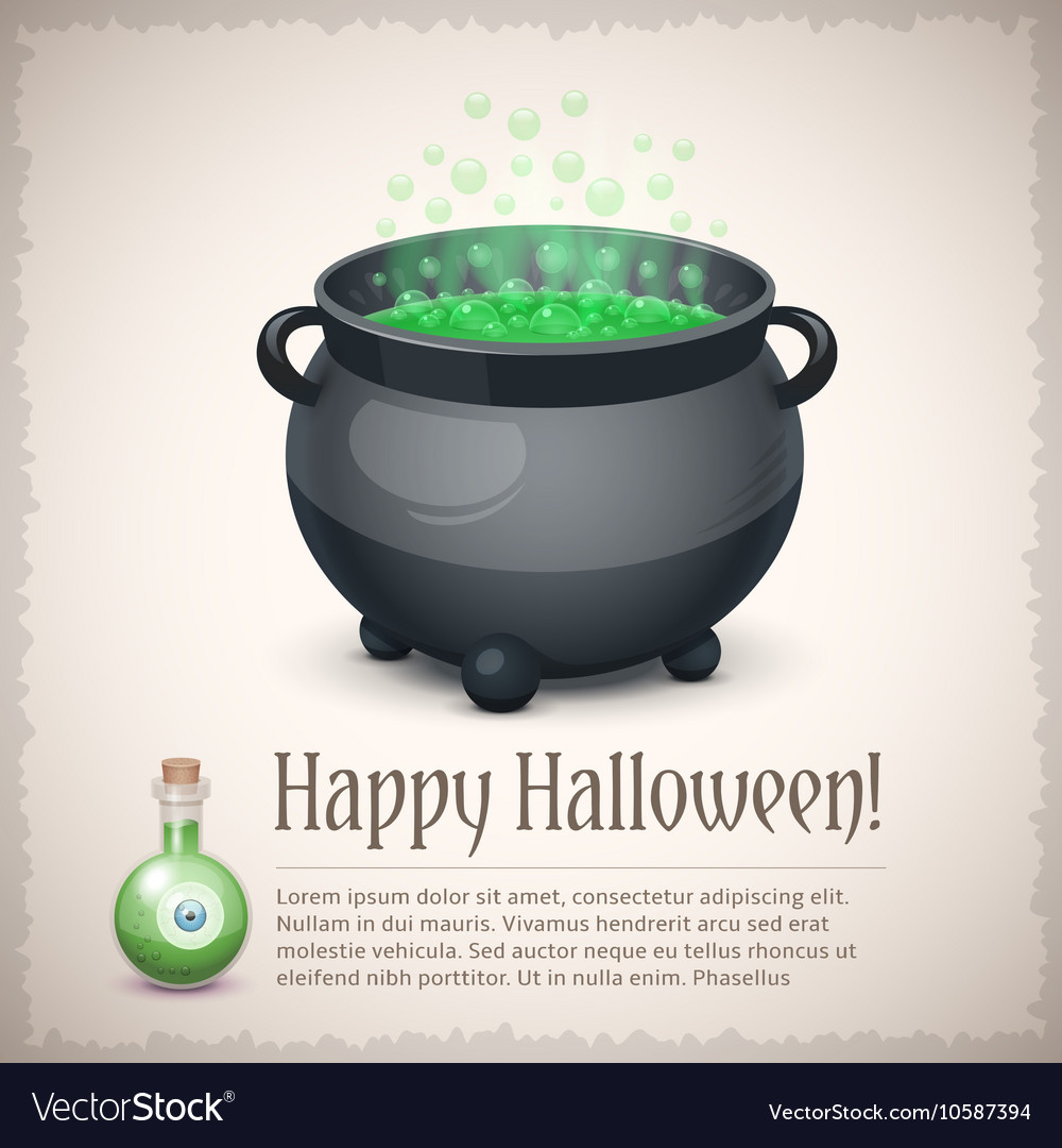 Happy Halloween card with a boiling witch cauldron vector image