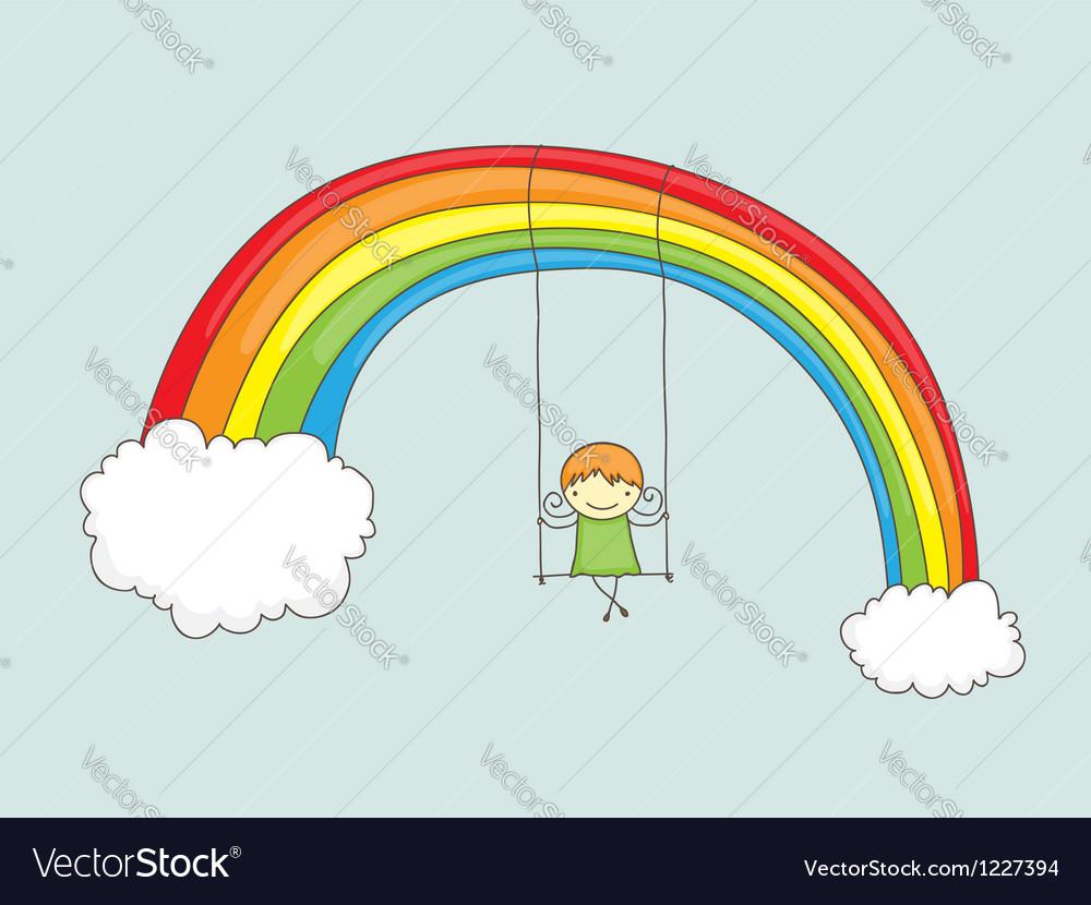 Swinging on rainbow vector image