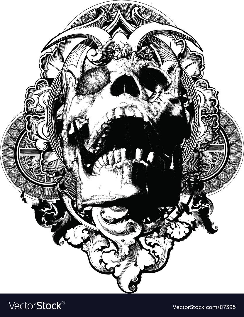 Wicked skull shield illustration vector image