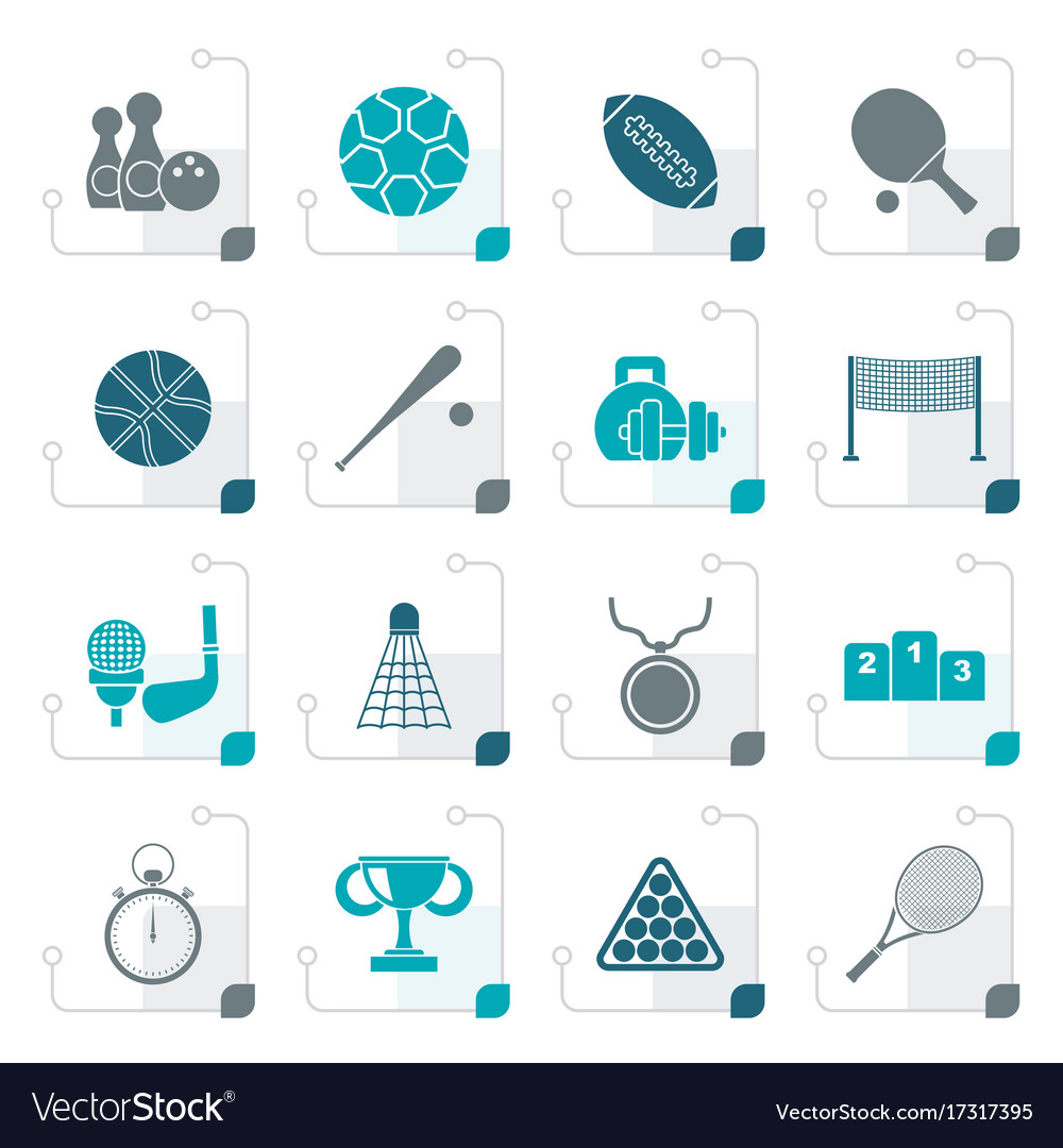 Stylized sport equipment icons vector image