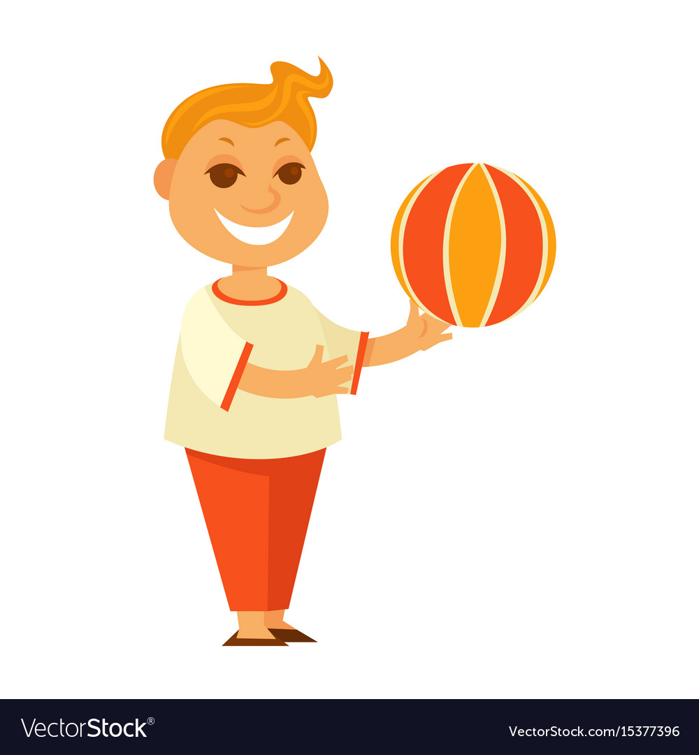 Redhead boy plays with colorful ball isolated vector image