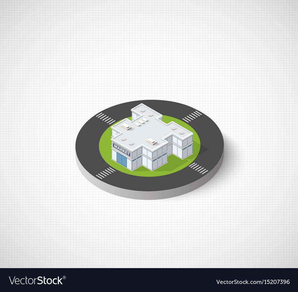 Supermarket shop 3d icon dimensional building of vector image