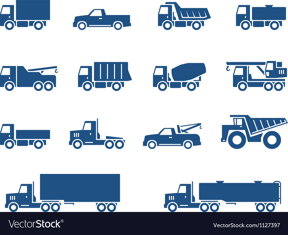 Trucks icons vector image