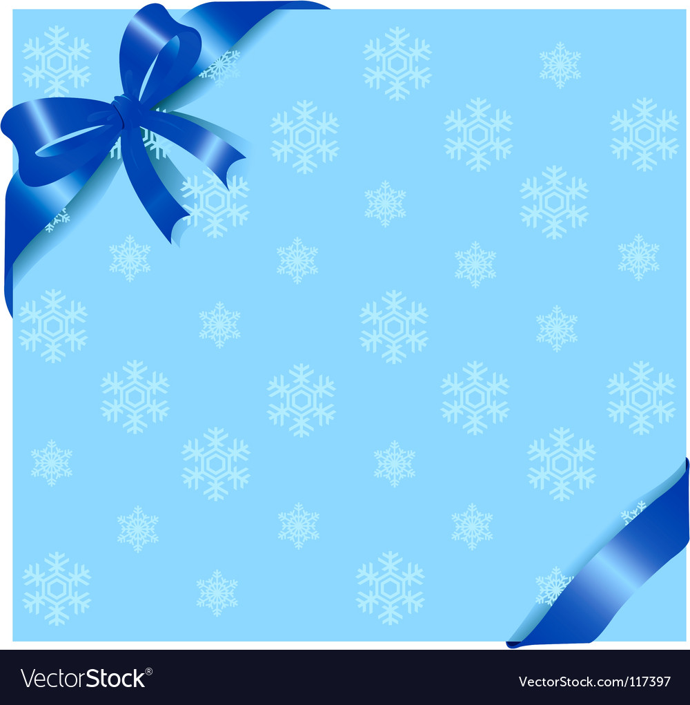 Blue ribbon on winter background vector image