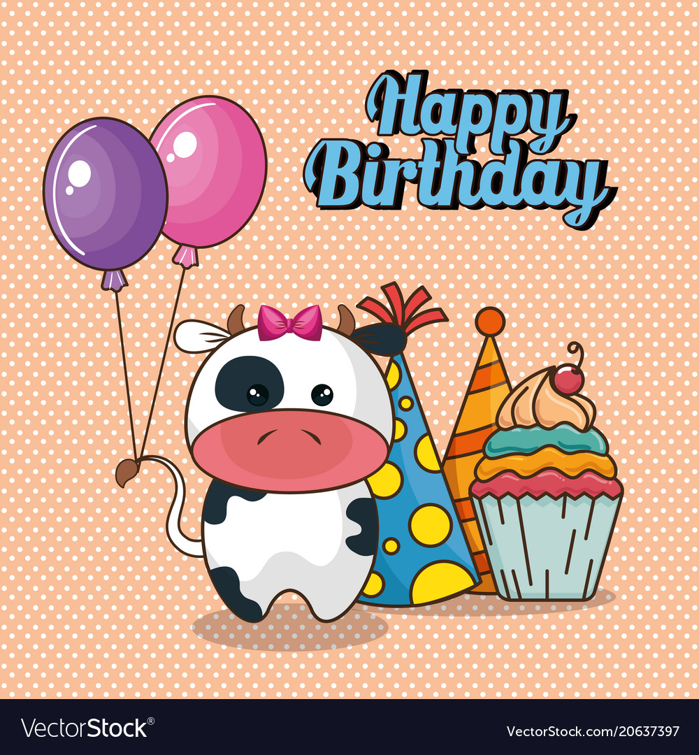 Happy birthday card with cute cow royalty free vector image happy birthday card with cute cow vector image bookmarktalkfo Images