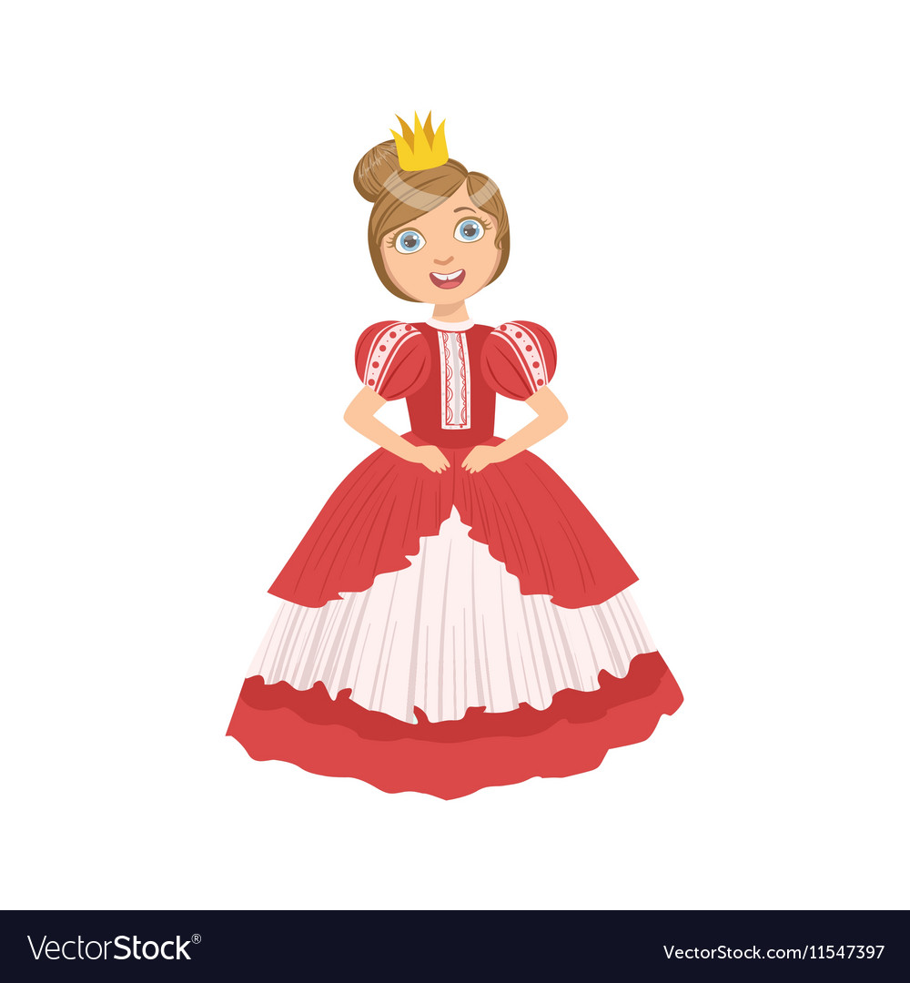 Little Girl With High Hairdo Dressed As Fairy Tale vector image
