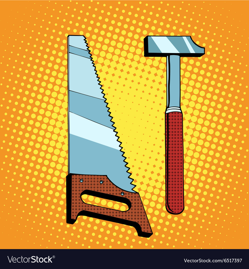 Tools saw hammer vector image
