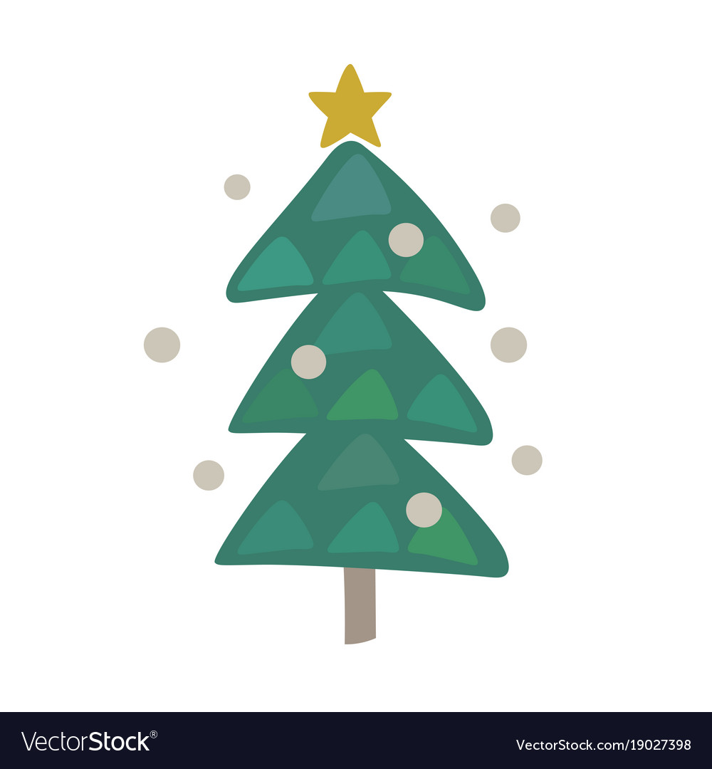 Cute Christmas Tree Icon Design Vector Image