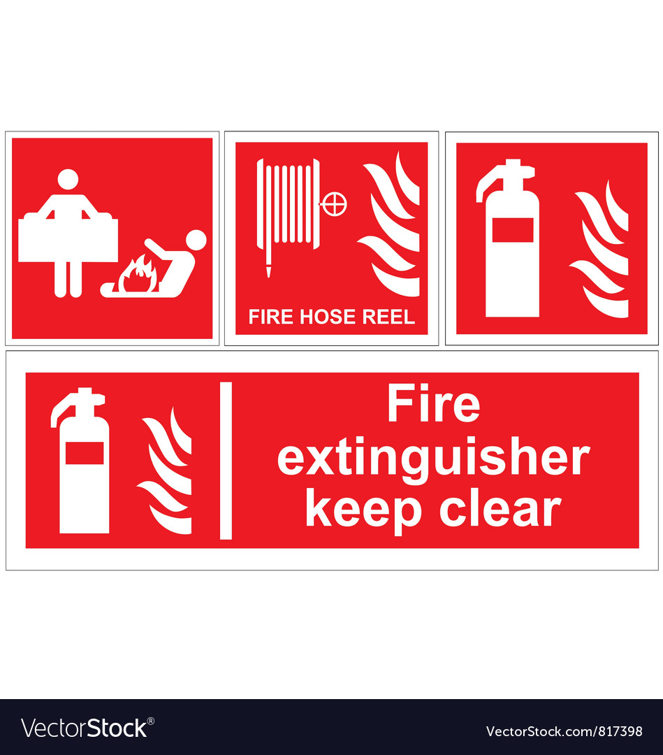 fire extinguisher signs royalty free vector image