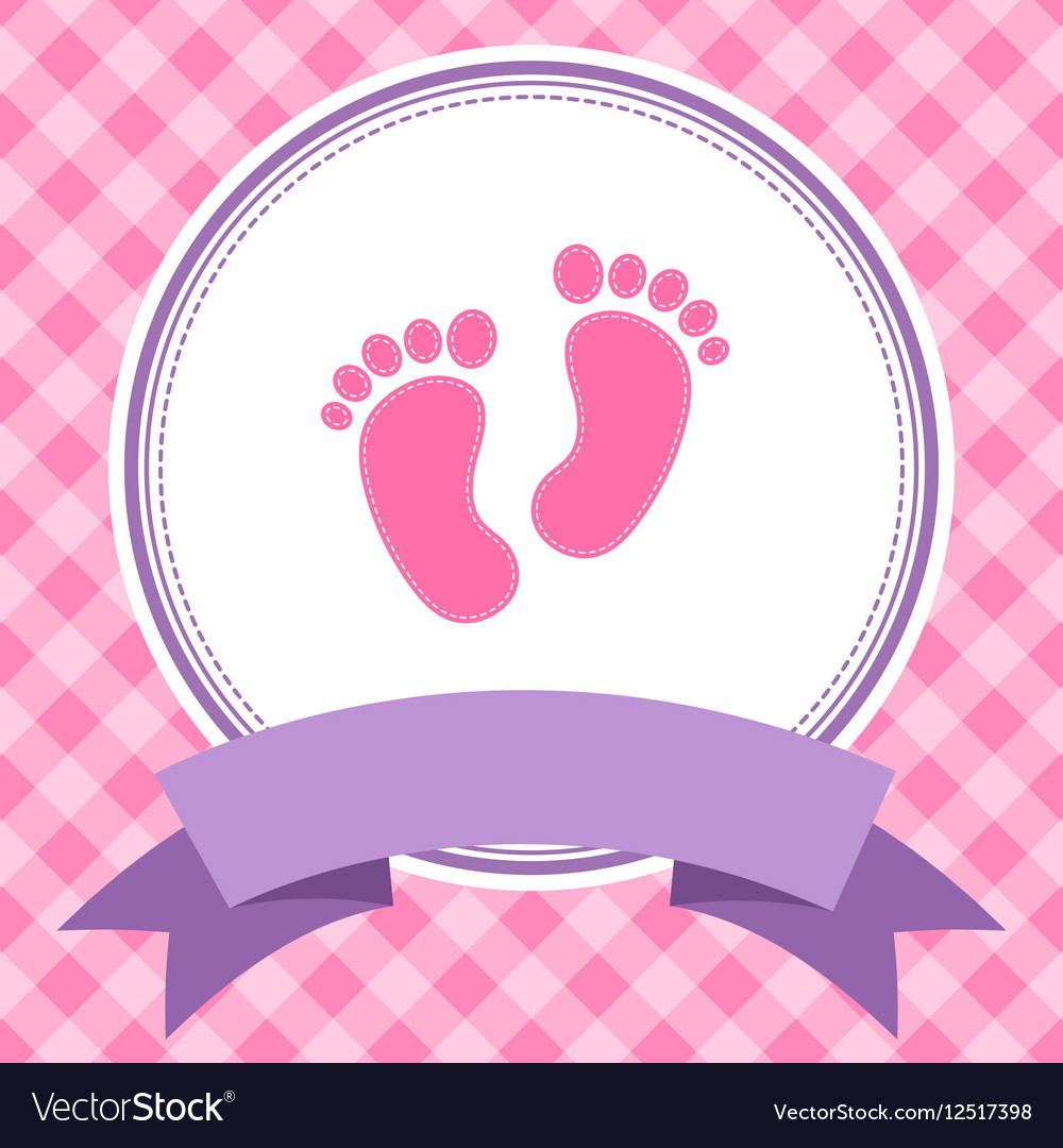 Girl baby shower invitation card Royalty Free Vector Image