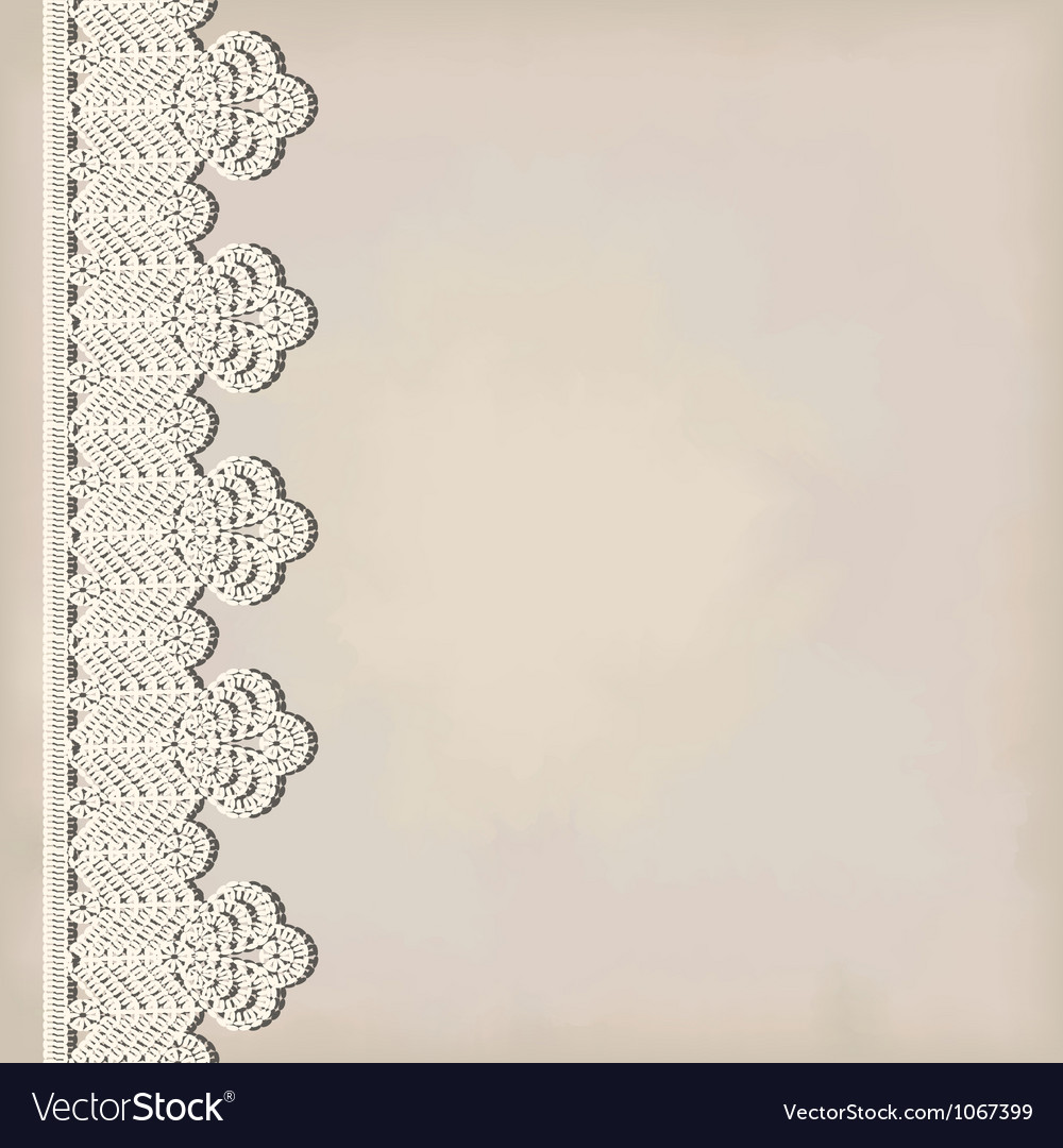 Lace border on grunge background vector image