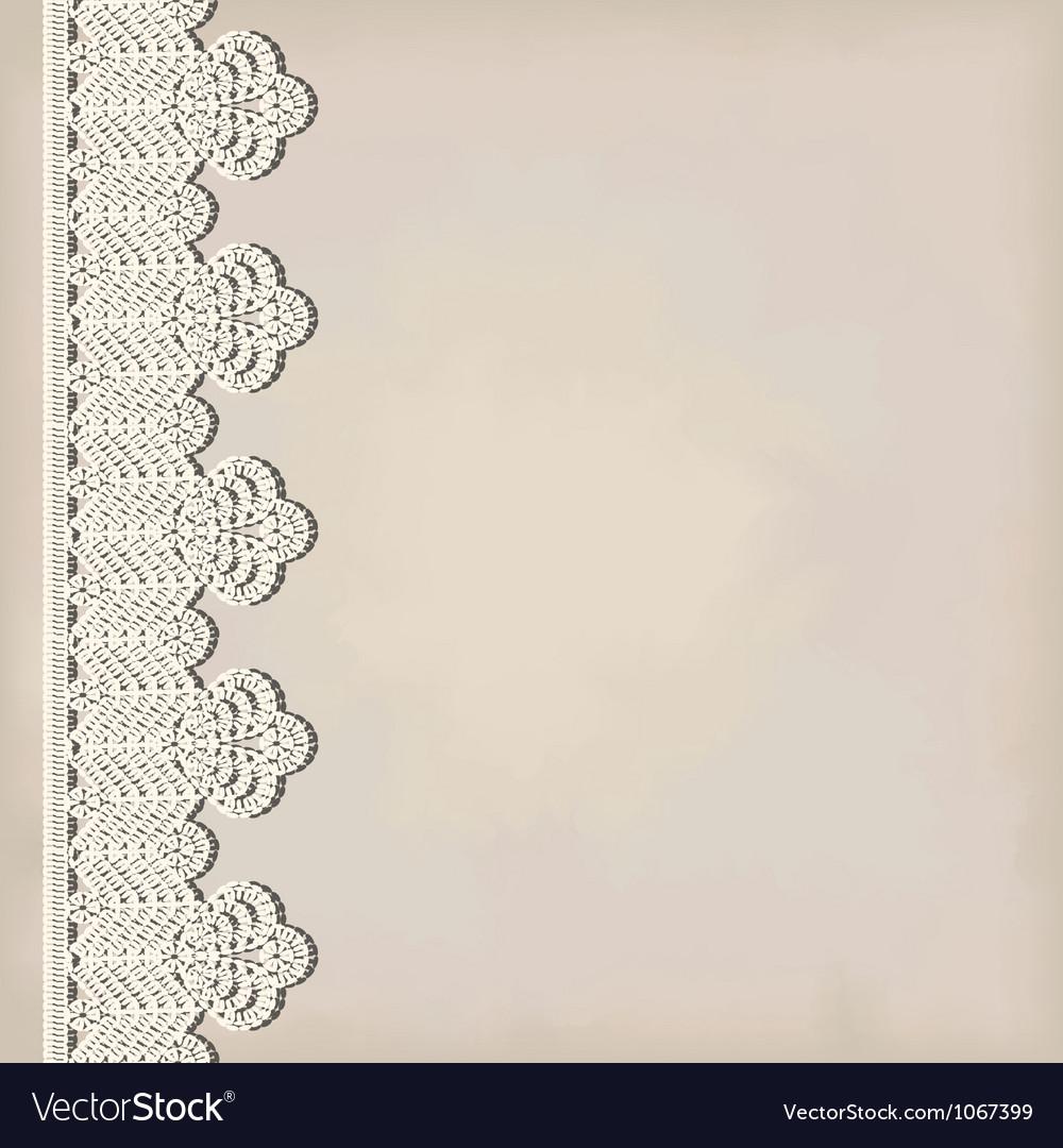 Lace border on grunge background vector image