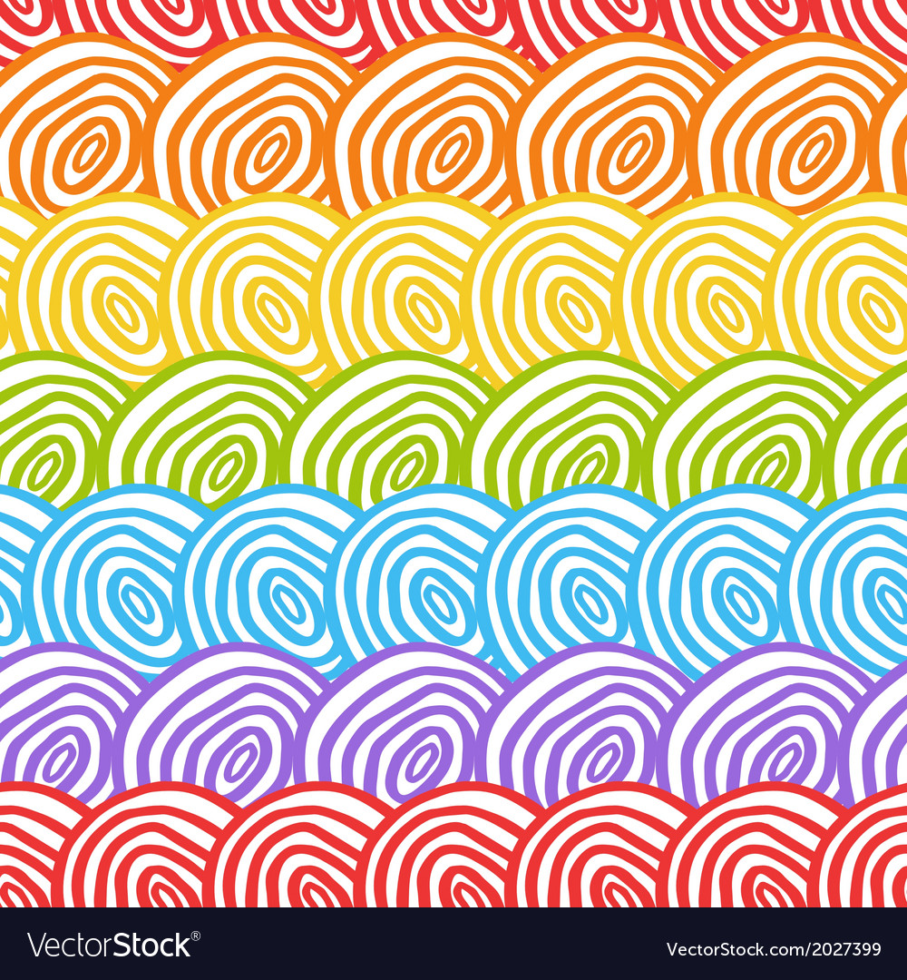 Seamless rainbow doodle background vector image