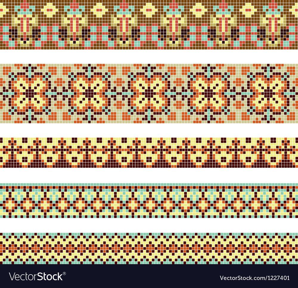 Cross-stitch ethnic Ukraine pattern vector image