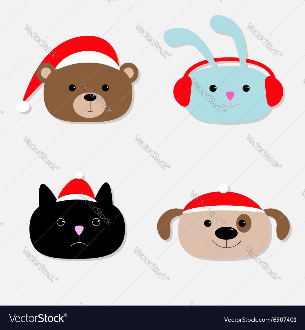 Animal head set Cartoon bear rabbit cat dog in vector image