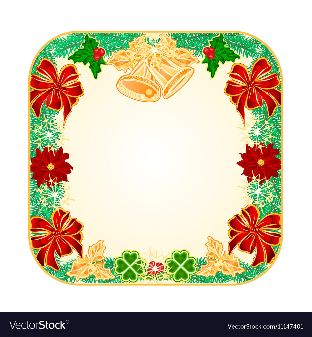 Button square Christmas Spruce with bells vector image