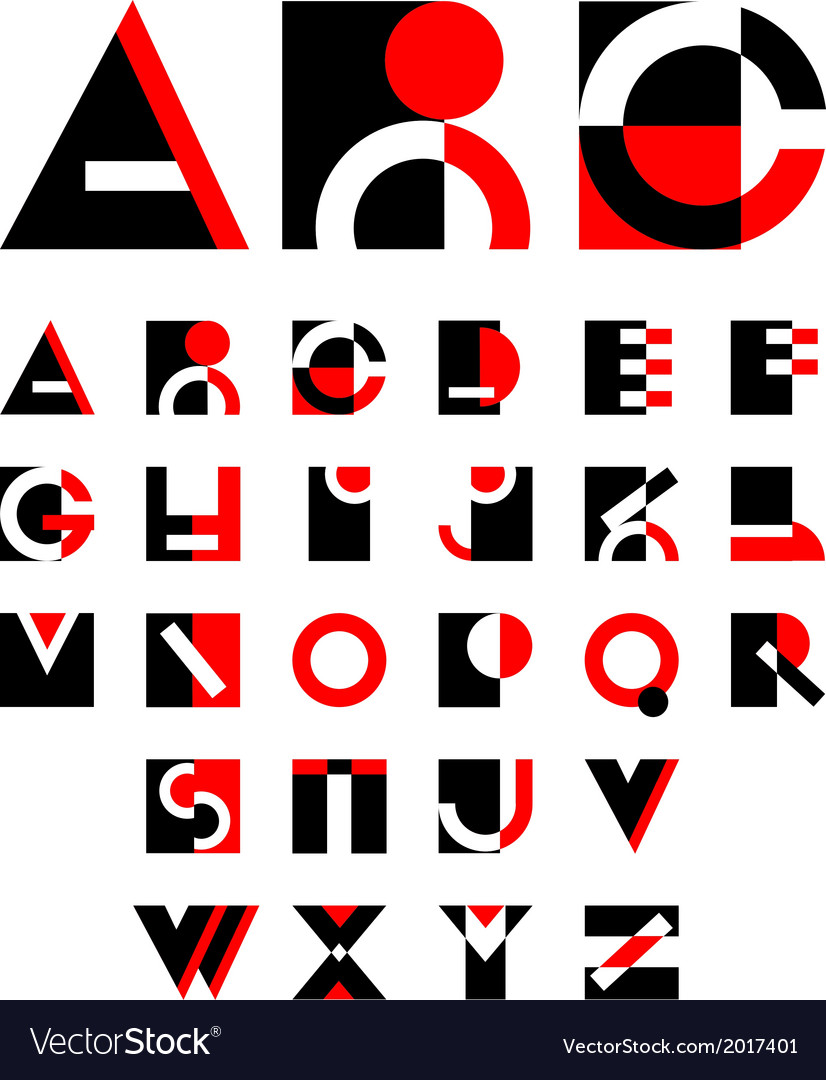 Geometric red and black alphabet design vector image
