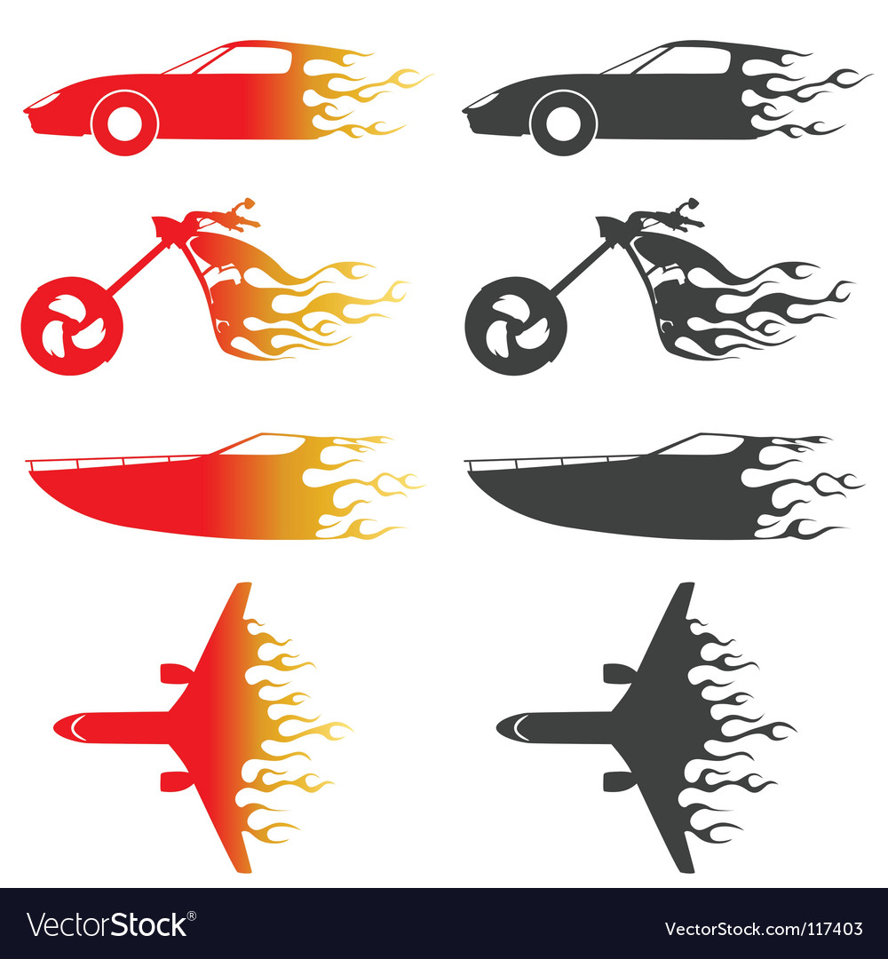 Flame vehicles vector image