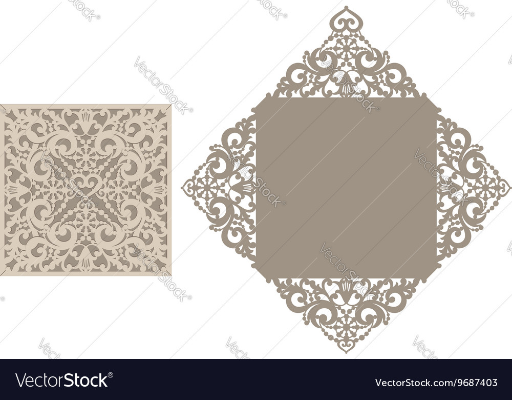 laser cut envelope template for invitation vector image, Invitation templates