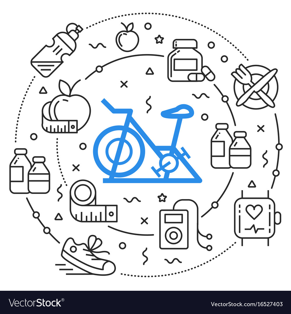 Line circle flat fitness sport vector image