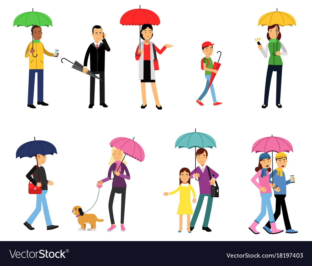 People under umbrella set men and women walking vector image