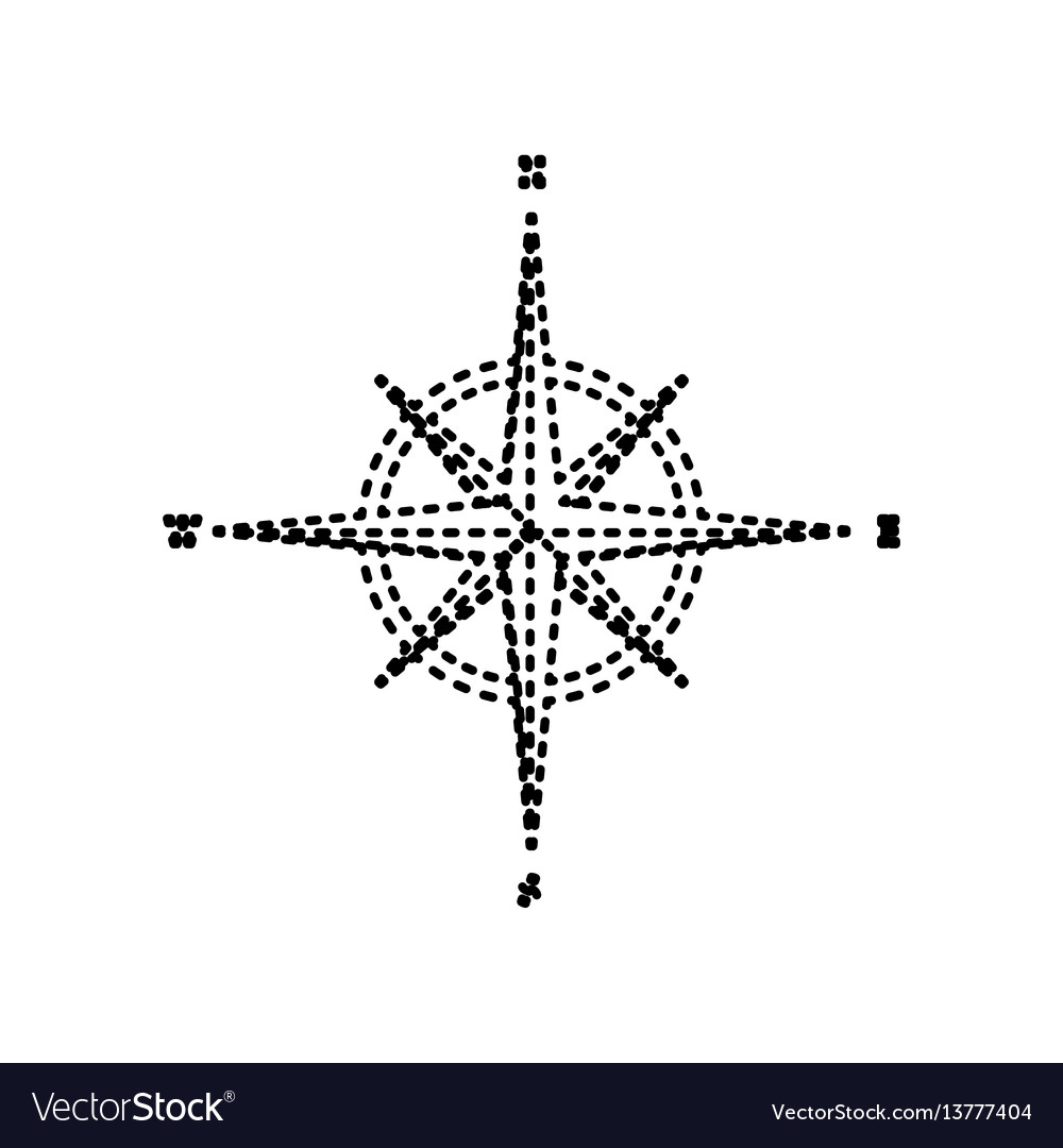 Wind rose sign black dashed icon on white vector image