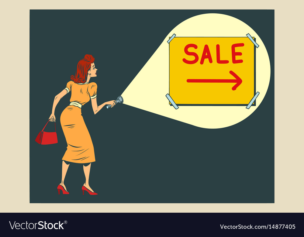 Woman shining a flashlight at the inscription sale vector image