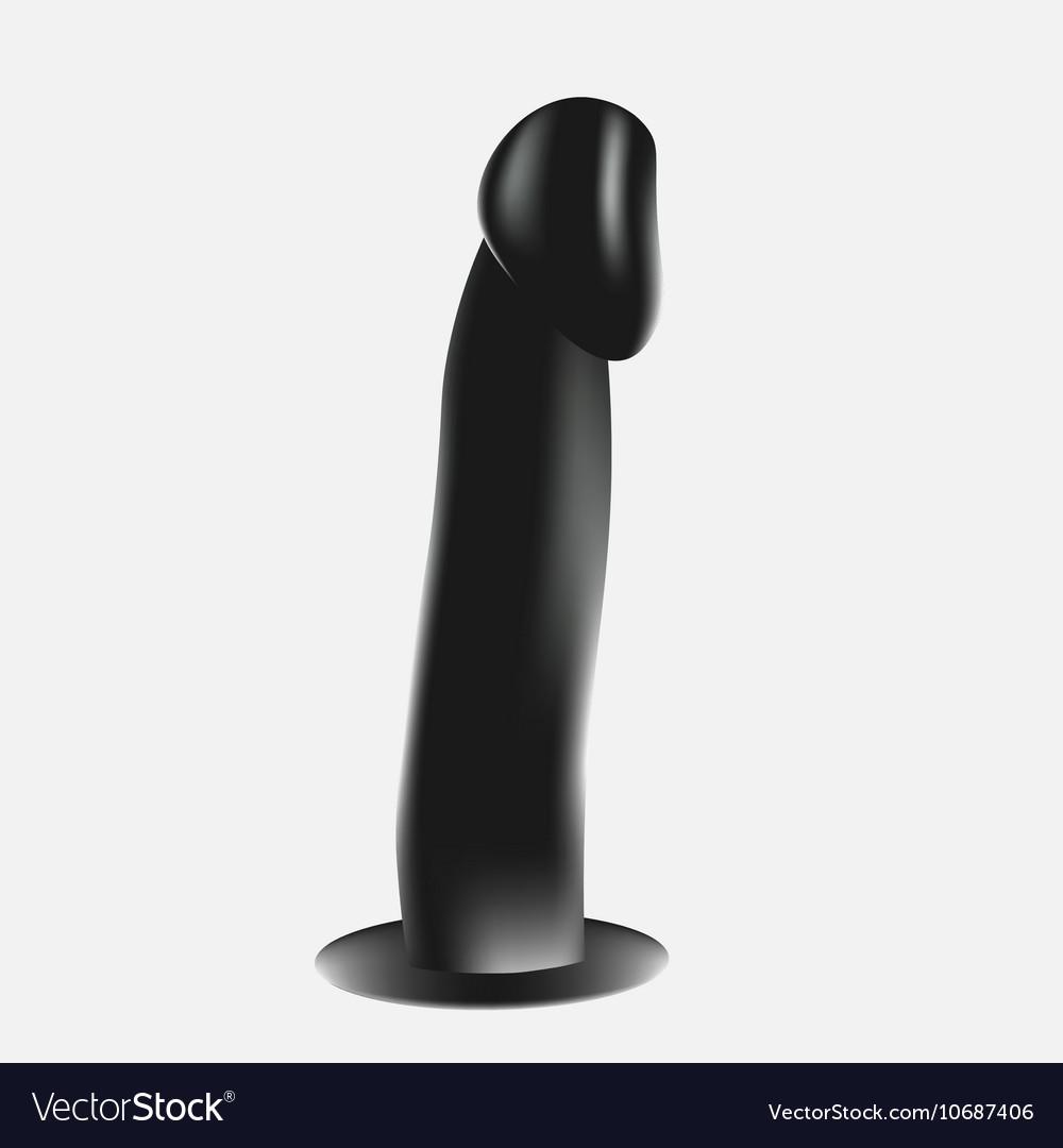 Black Dildo isolated on white background vector image