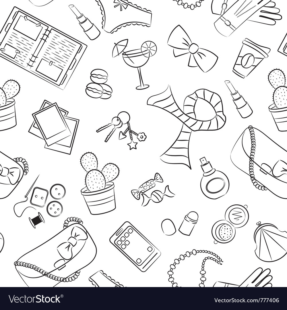 Seamless female things vector image