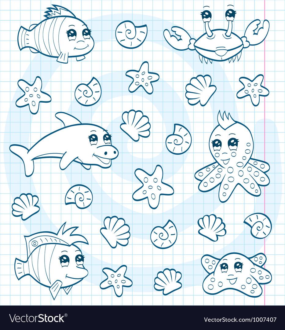 Cute sea animals vector image