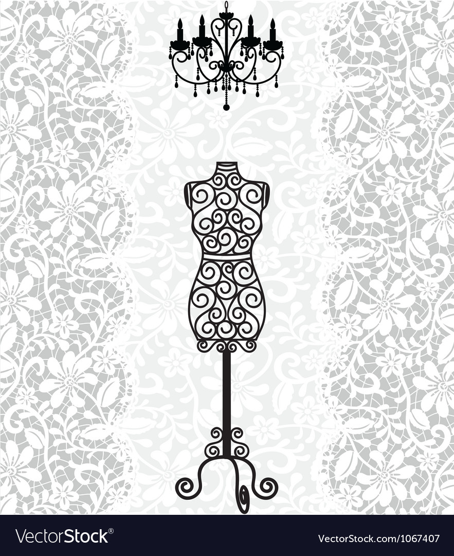 Mannequin and chandelier on lace background vector image