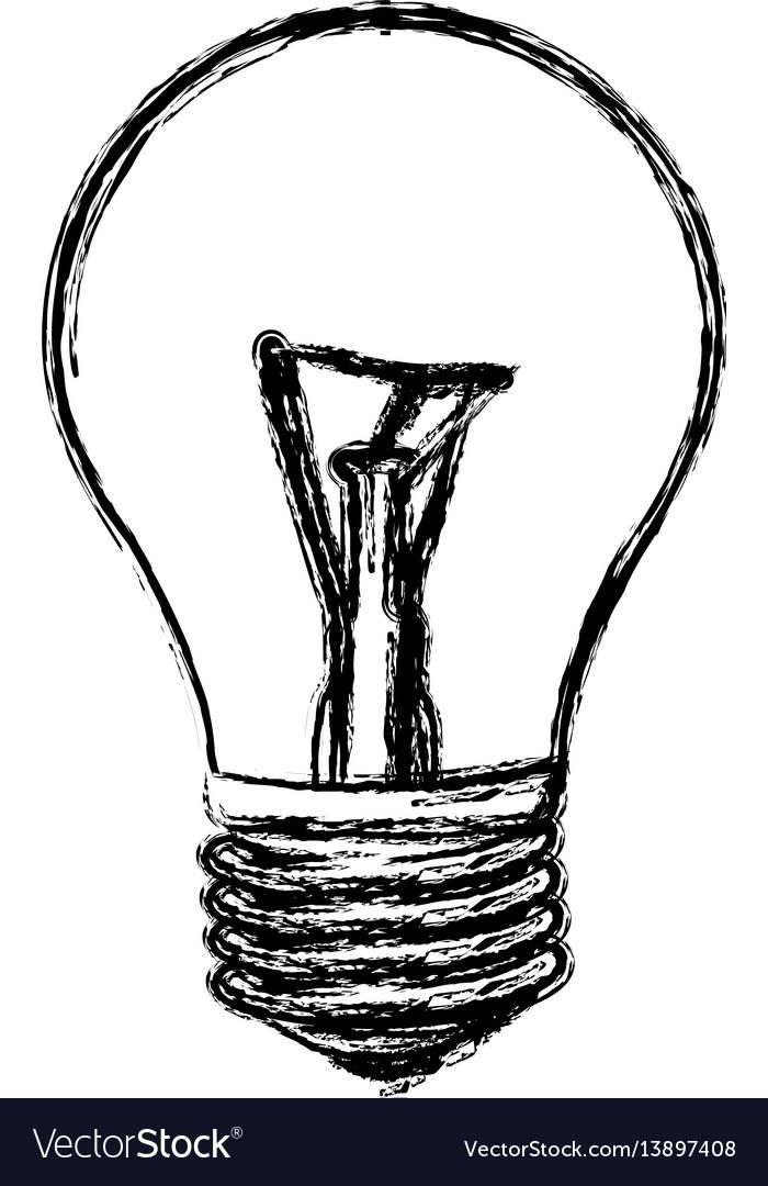 Sketch of incandescent light bulb vector image