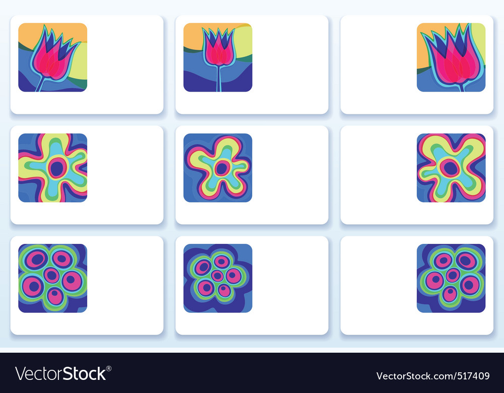 Flower business cards vector image