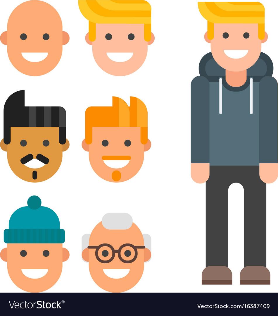 Man Constructor Body Avatar Creator Cartoon Vector Image